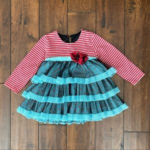 Girls, 24 months, red & turquoise ruffled dress.